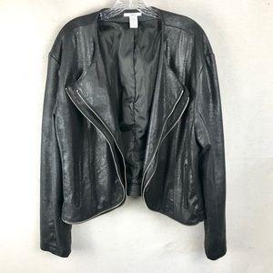 BAR III Faux suede open front zipper detail jacket